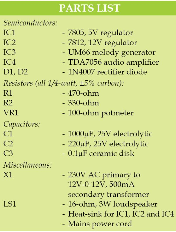3W audio amplifier parts list