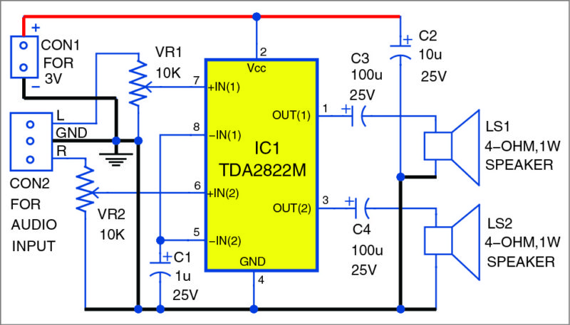 Circuit of the stereo audio amplifier using TDA2822M