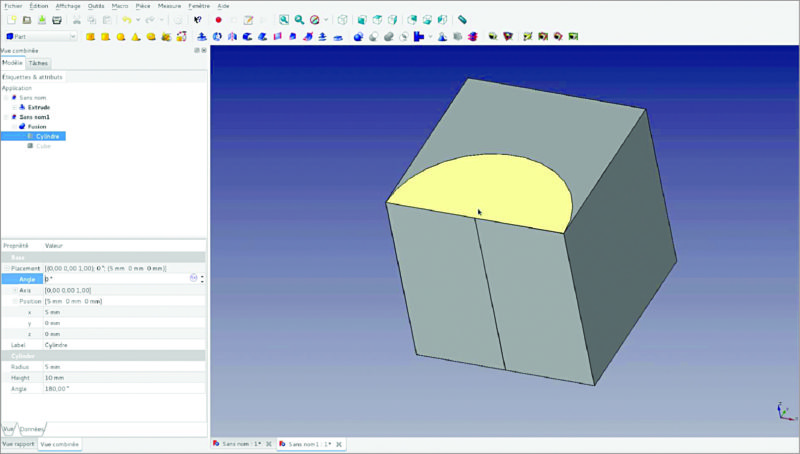 3D view in FreeCAD (Image courtesy: www.freecadweb.org)