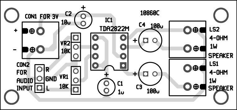 PCB layout of stereo audio amplifier using TDA2822M