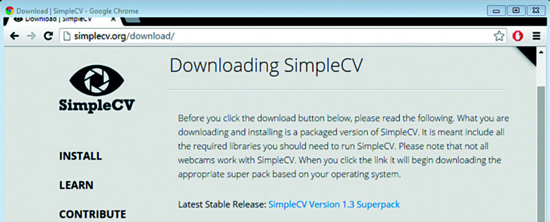 SimpleCV download page