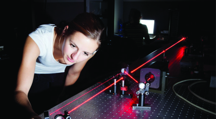 testing lasers in lab