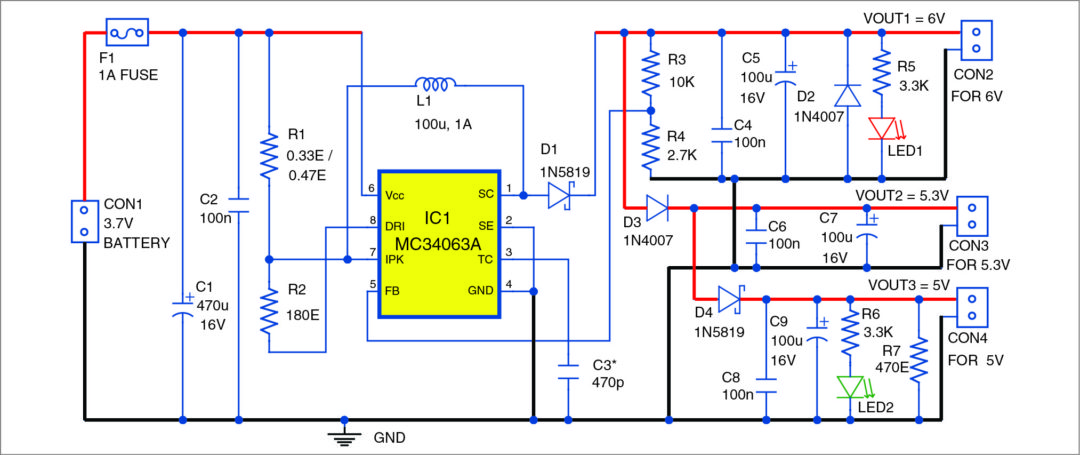 Low Cost 3 7v To 5v 6v Dc To Dc Converter Full Electronics Project