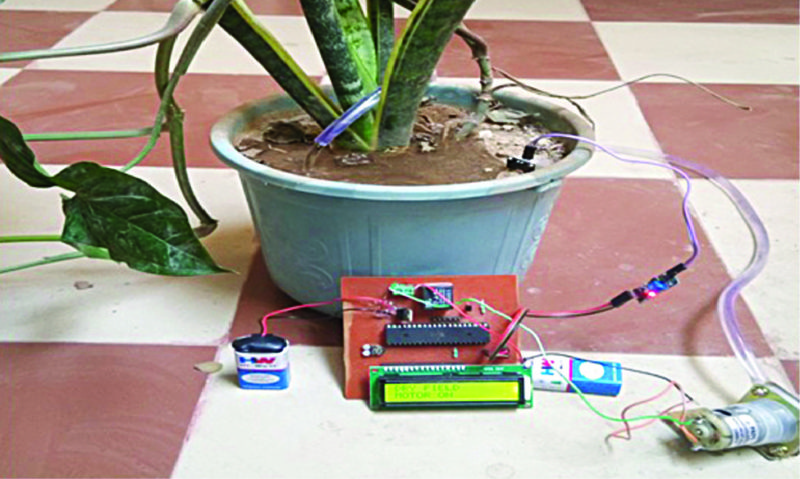 Author's prototype watering the plant in a flower pot