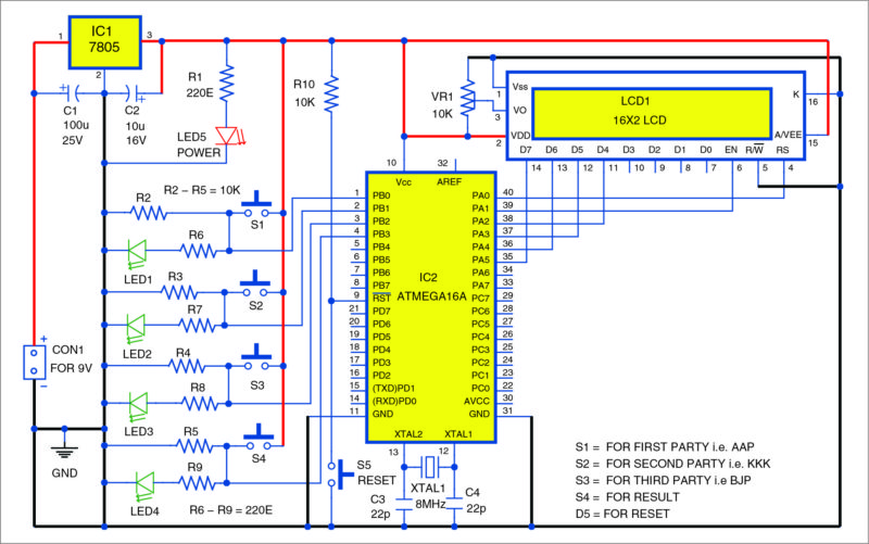 Circuit diagram of the electronic voting machine using ATmega16A microcontroller