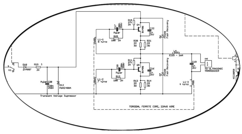 Partial schematic of an ultrasonic cleaner with a clear view of transponder driver circuitry