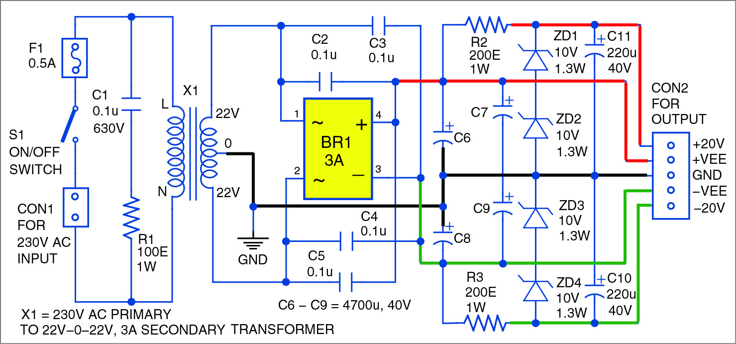 30w Audio Amplifier Using Ne5534 And Darlington Transistors Power Transistor Circuits Electronic Projects Sound Circuit