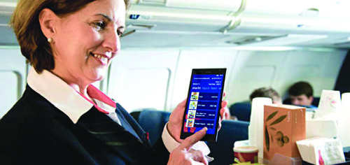 Flight attendants are carrying more advanced devices with passage of time (Image courtesy: www.technologyrecord.com)