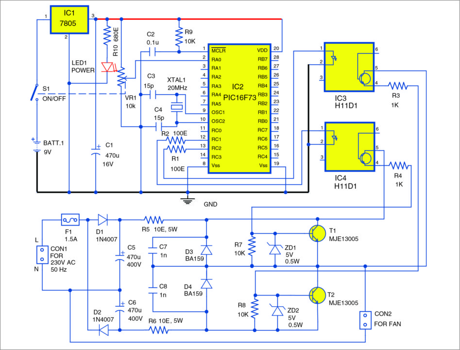 Fan Speed Regulator Using PIC16F73 | Full Project Available