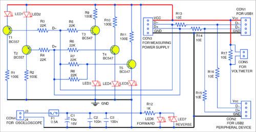 USB interface signal monitoring circuit