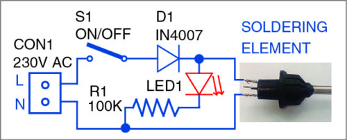 Circuit of the micro-solder pot power supply