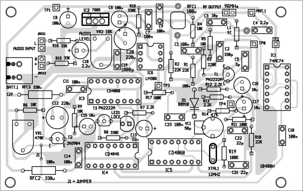 Fig 5. Component layout of the PCB given above