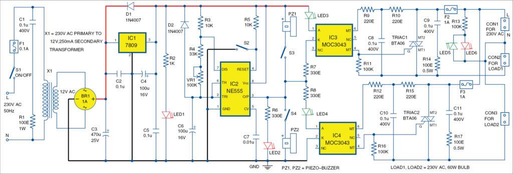 Circuit diagram of AC lamp blinker using timer NE555