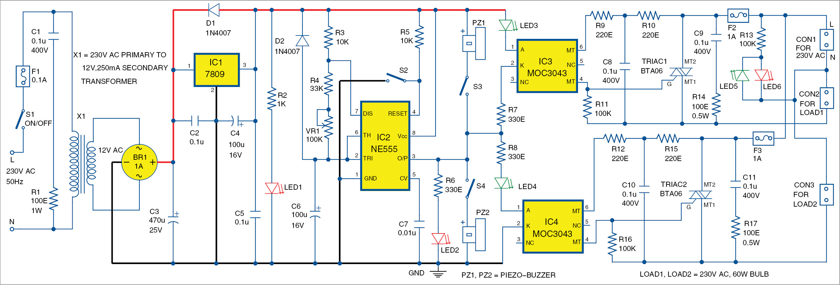 Ac Lamp Blinker Using Timer 555 Full Electronics Project Circuit Triac Controlled Automatic Voltage Stabilizer Electronic