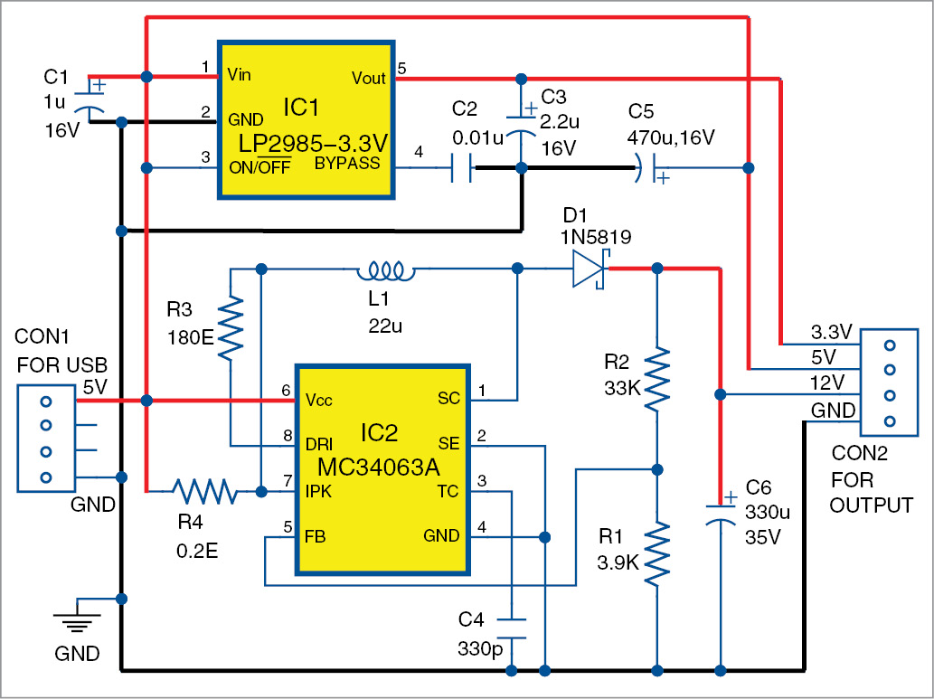 USB based triple power supply circuit