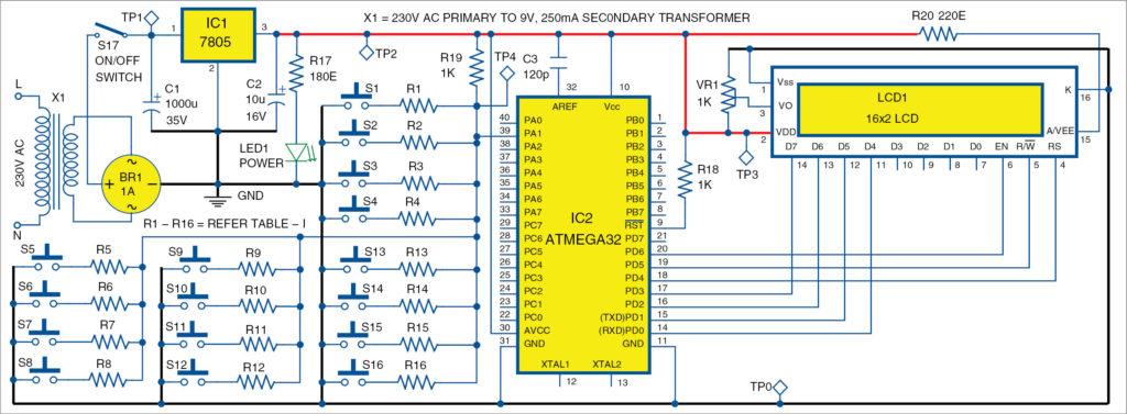 single wire 4x4 matrix keypad using avr full electronics project rh electronicsforu com
