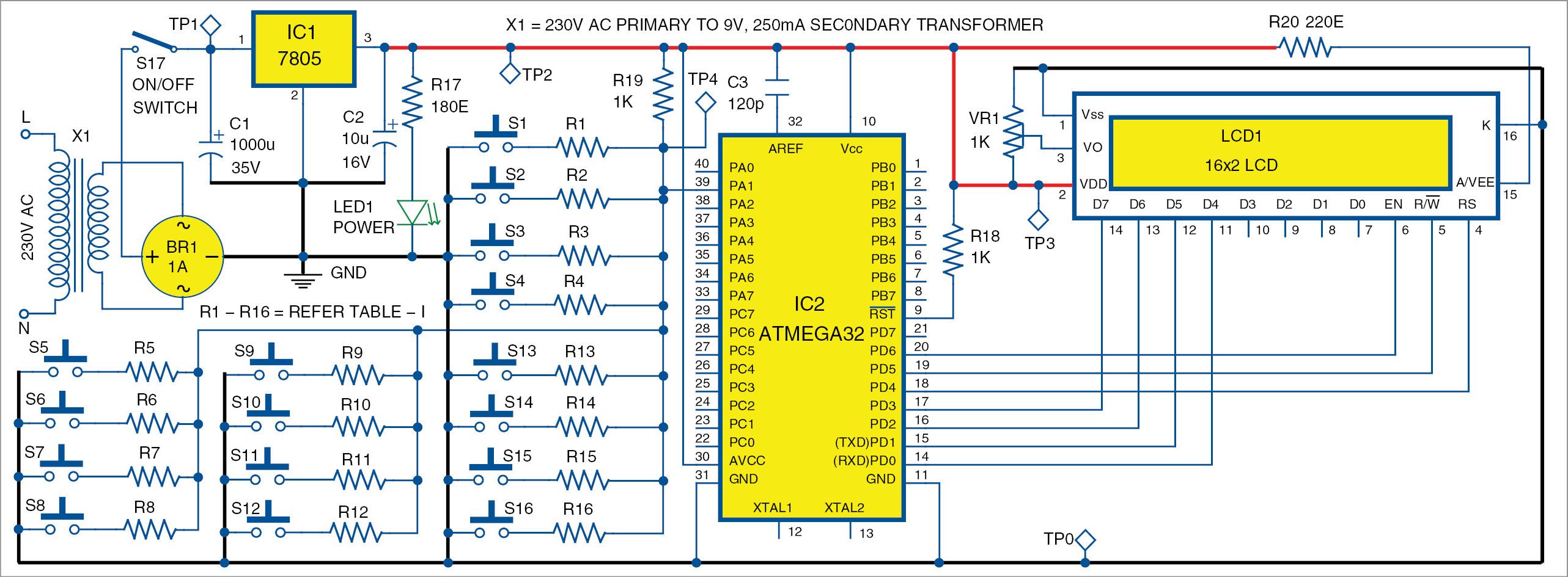 Single Wire 4x4 Matrix Keypad Using Avr Full Electronics Project 20 Watt Amp Circuit Diagram Electronic Projectcircuit World