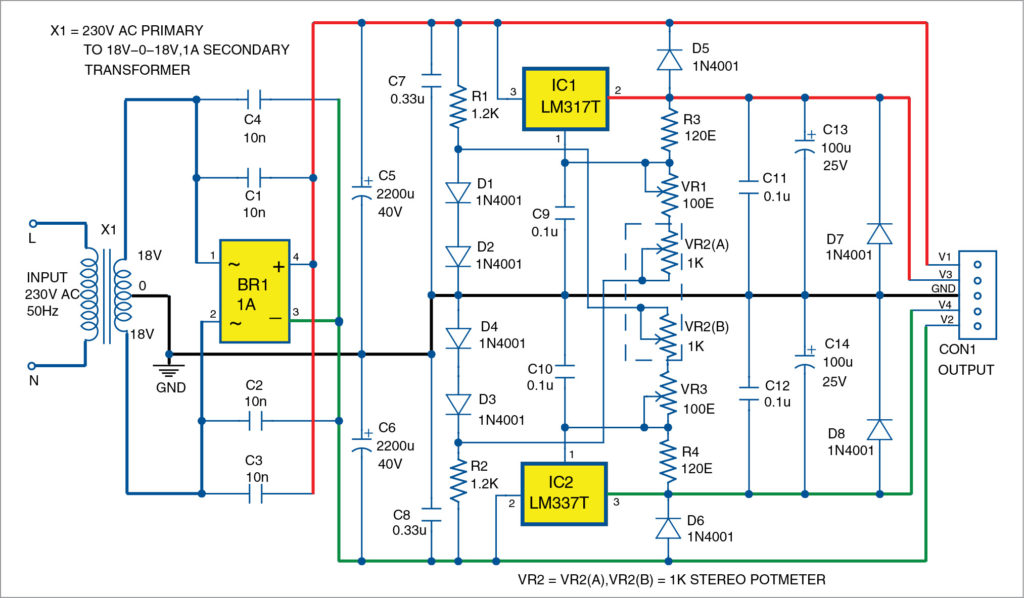 Circuit of the bipolar power supply with adjustable regulators