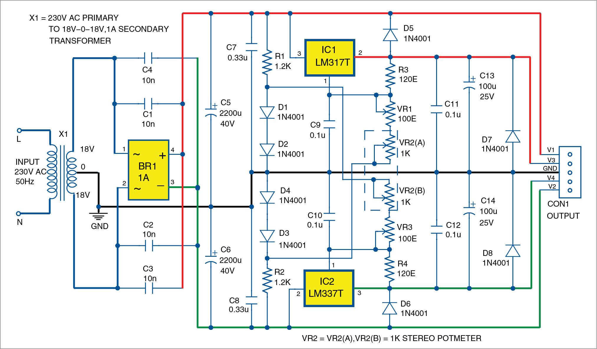 Bipolar Power Supply With Adjustable Regulators Electronics Project Constant Current Drives Two 3 Watt Ledselectronics Circuts