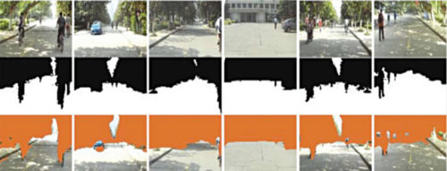 Obstacle detection test results: Input images (top), ground truths with black as positive (middle) and detected obstacles with orange as positive (bottom)