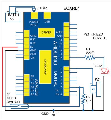 Circuit diagram of Arduino based visitor alarm