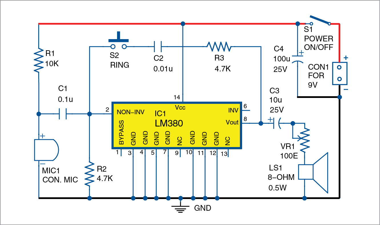 Circuit diagram of super-simple intercom