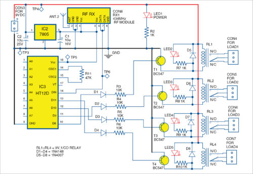 Circuit diagram of the receiver unit of Wireless equipment control