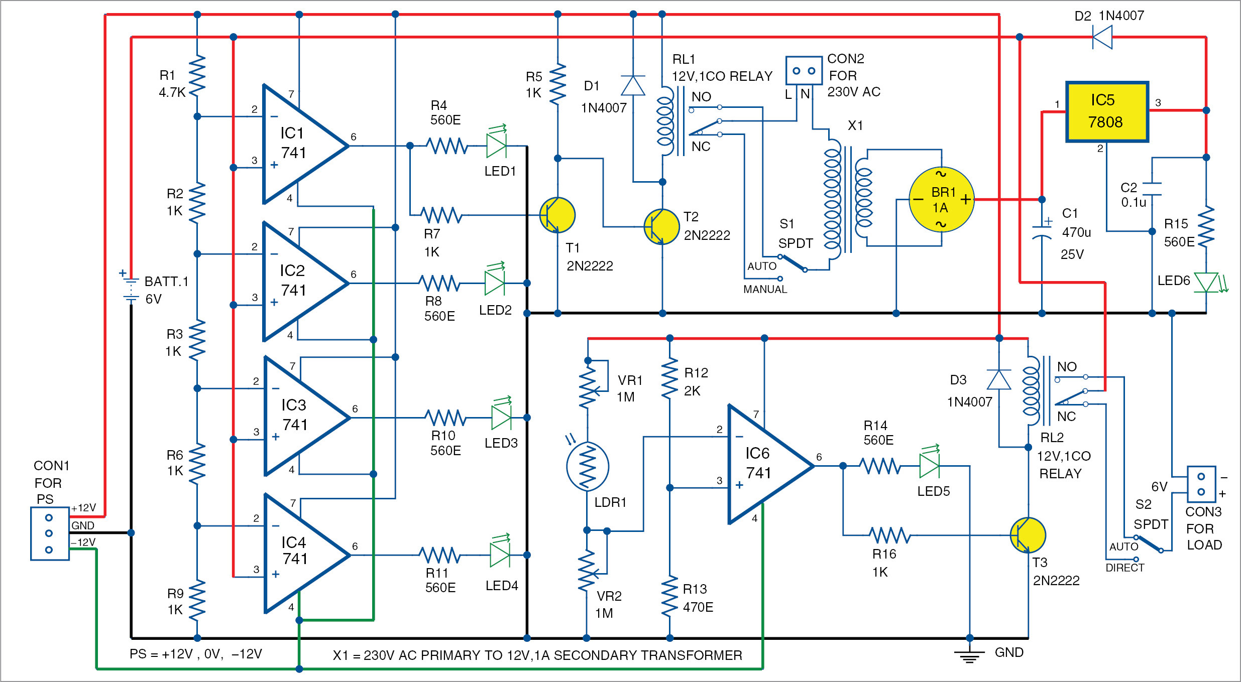 Automatic Light And Overcharging Control With Voltage Level Indicator Transistor Switch 12v Relay