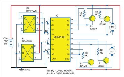 Circuit for ULN2803 Based Motor Driver