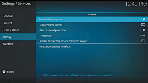 Enabling Airplay on Kodi