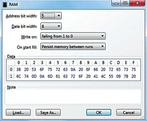 LogicCircuit RAM editor
