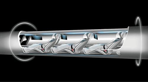 An artist's rendition of passengers riding a Hyperloop Transport capsule