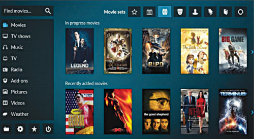 The Kodi user interface