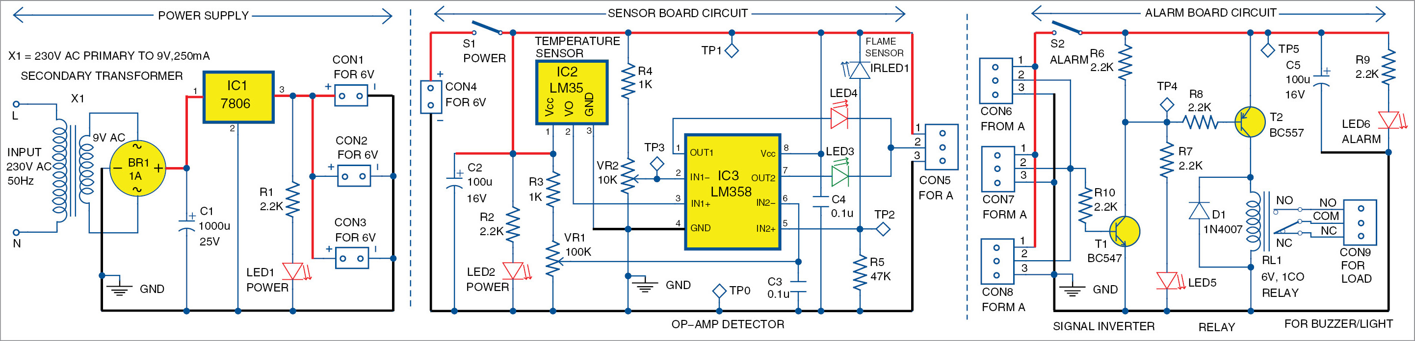 Simple Multi Sensor Fire Alarm Full Electronics Project Build Your Own Security Systems Ir Receiver Circuit Diagram