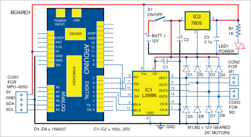 Circuit diagram of two-wheel self-balancing robot