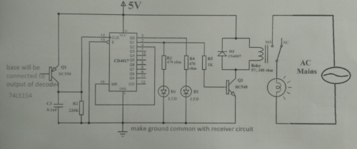 Circuit for bistable multivibrator using 4017
