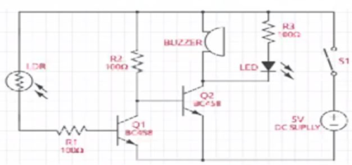 Schematic Circuit diagram of the laser light security alarm system