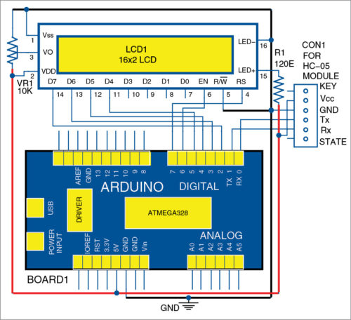 circuit diagram of wireless lcd display via bluetooth