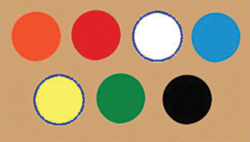 Bright circles drawn in a different colour