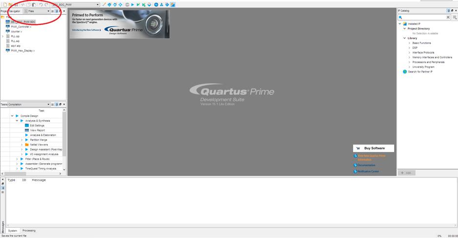 Project file open of Altera – Quartus II software