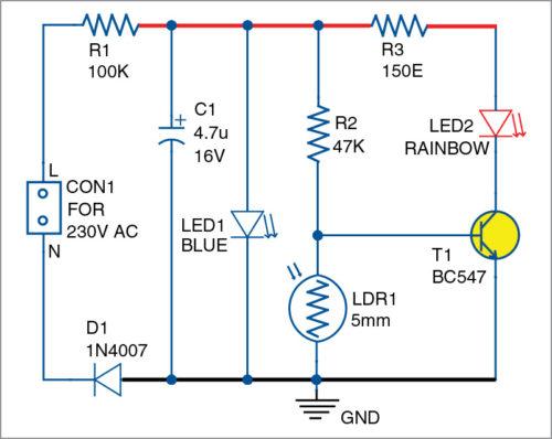Circuit diagram for the nightlight