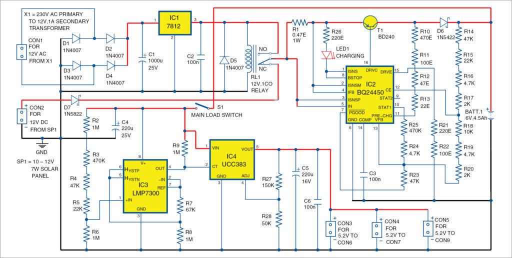 Circuit diagram of power unit