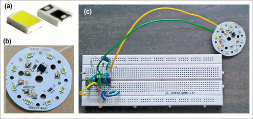 (a) SMD LED, (b) LED board and (c) author's prototype