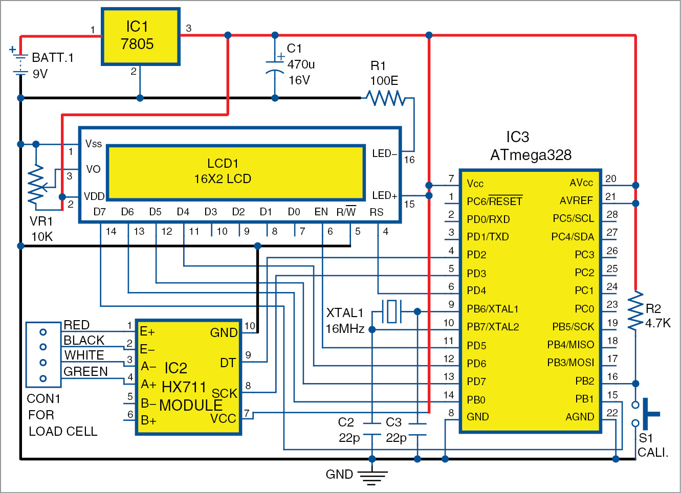 Build Your Own Digital Weighing Machine Full Electronics Project 4 Wire Load Cell Wiring Diagram