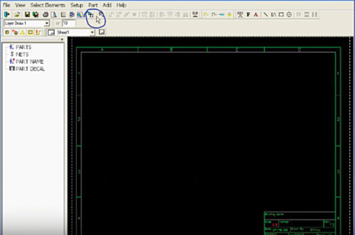 A blank workspace on the ZenitCapture Schematic tool and the component quick-access button