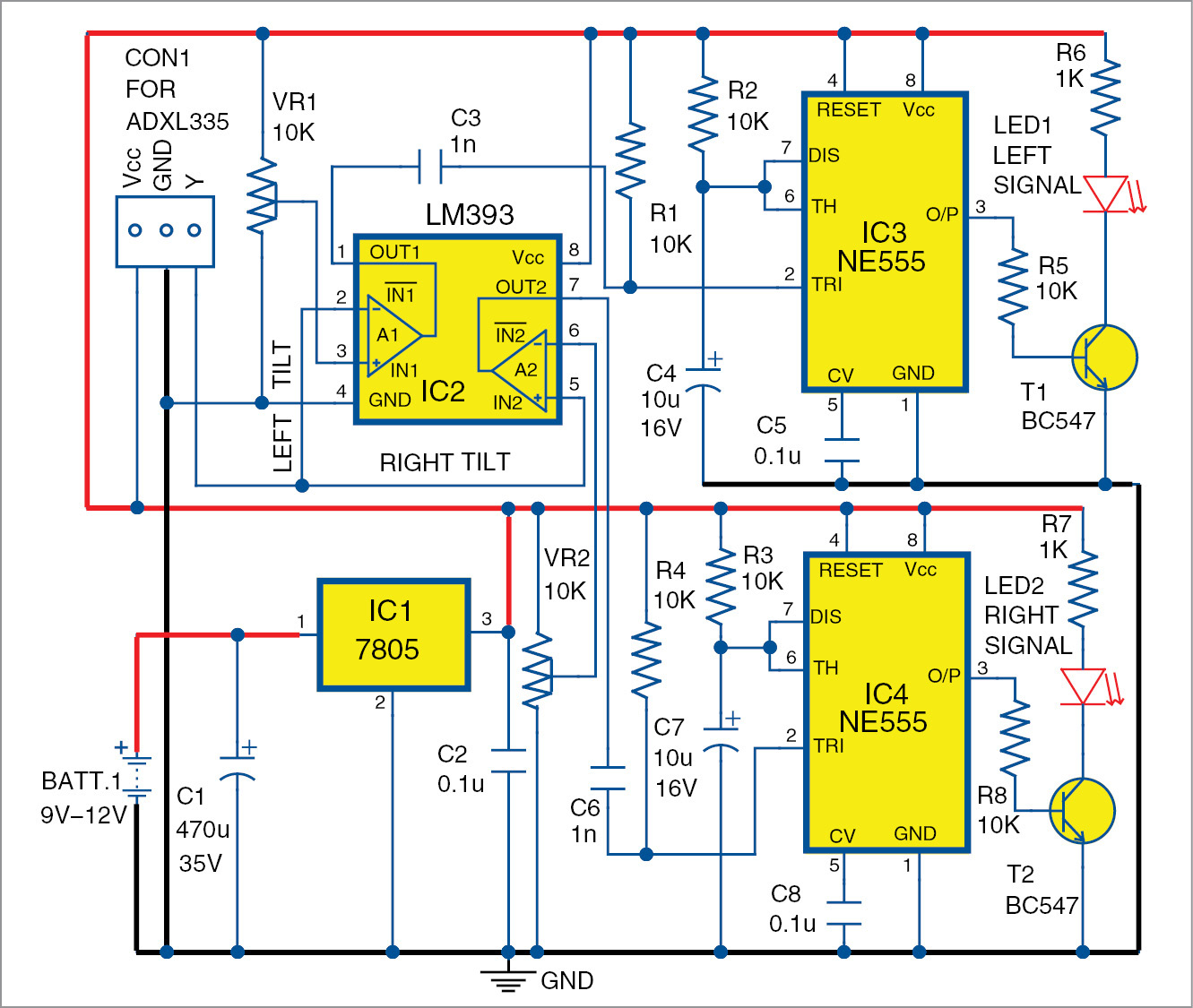 Automatic Bike Turn Indicator Detailed Electronics Project Bench Amplifier Circuit Diagrams Schematics Electronic Projects