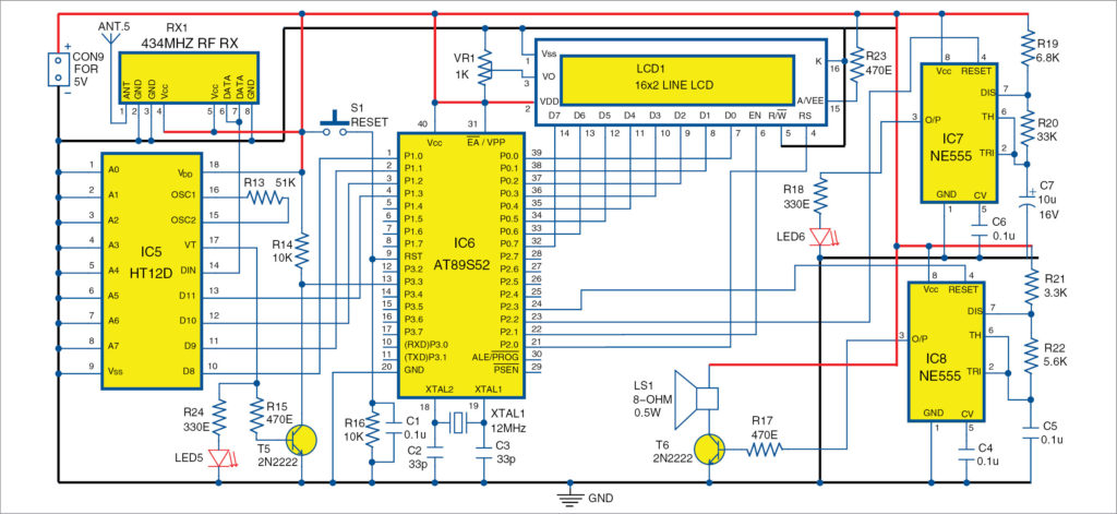 Circuit diagram of MCU-based central receiver circuit