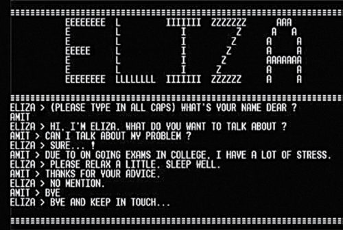 ELIZA—an interactive program based on a very basic level of AI (Source: www.scaruffi.com)