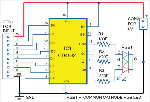 Circuit diagram of multiple status indicator using a single RGB LED