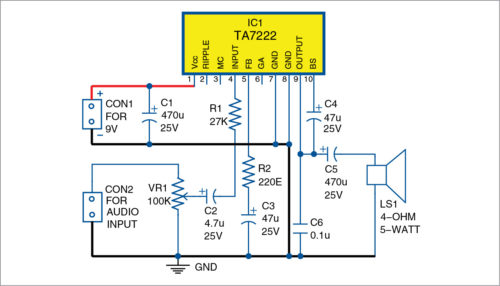 Circuit diagram of 5-watt mono audio amplifier using IC TA7222